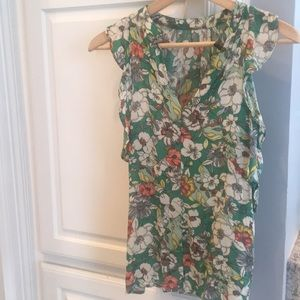 Floral Anthropologie sleeveless top
